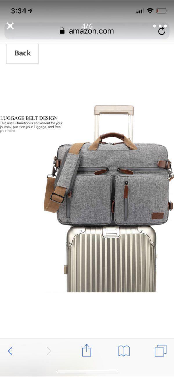 CoolBELL Convertible Backpack Messenger Bag Shoulder Bag Laptop Case Handbag Business Briefcase Multi-Functional Travel Rucksack Fits 15.6 Inch Lapto