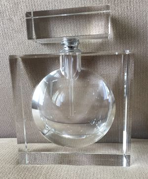 New modern contemporary solid clear crystal (?) glass acrylic perfume decanter bottle for Sale in Santa Monica, CA