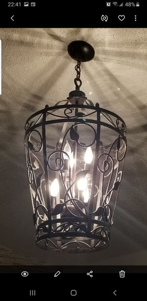 "Large Wrought Iron Gothic Style Chandelier Light Lamp 35"" Metal Iron for Sale in Palm Harbor, FL"