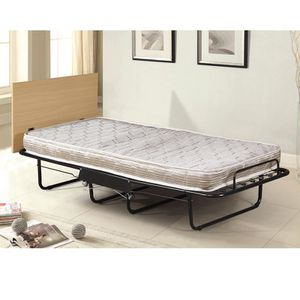 Twin folding bed thick mattress and big headboard for Sale in Jersey City, NJ