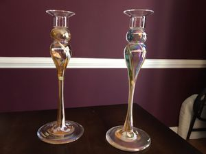 Hand blown glass candle holders for Sale in Annandale, VA