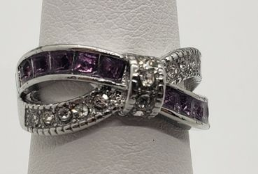 Size 7, Purple & White Topaz Sterling Silver Ring for Sale in Haslet,  TX