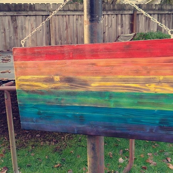 Handcrafted Wooden Rainbow Flag