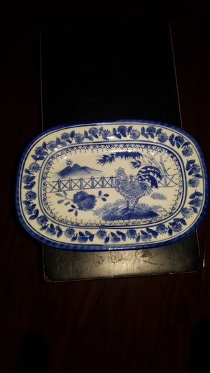 Chinese antique enamel painted porcelain bowl. Beautiful blue and white picture of rooster crowing under sunset. for Sale in Bellflower, CA