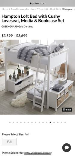 Pottery Barn Teen Hampton Loft Bed with Loveseat, Media & Bookcase Set for Sale in San Diego,  CA