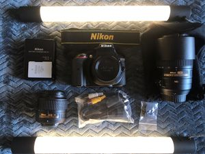 NIKON D5300 CAMERA SET WITH TWO LENS AND STRAP for Sale in Lincoln Acres, CA