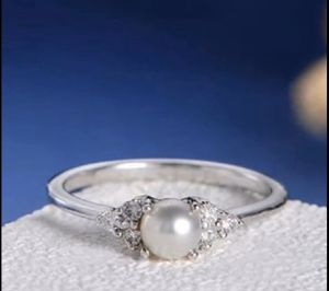 New Silver White Gold Plated Pearl & CZ Wedding Engagement Ring for Sale in Carmichael, CA