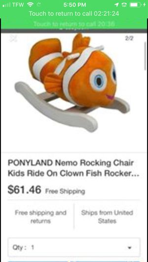 PONYLAND Nemo Rocking Chair Kids Ride On Clown Fish Rocker save $$$ brand new for Sale in Lake Mary, FL