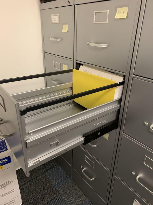 4-Drawer Vertical Metal File Cabinet, light gray, full-suspension