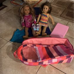 American girl dolls with gymnastics and roller skating set for Sale in Acampo,  CA