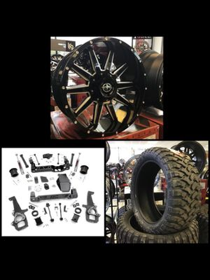 "New 20x10 xf off rode black rims wheels 35"" mud tires Dodge Ram 1500 6"" life kit installed xd for Sale in Tampa, FL"
