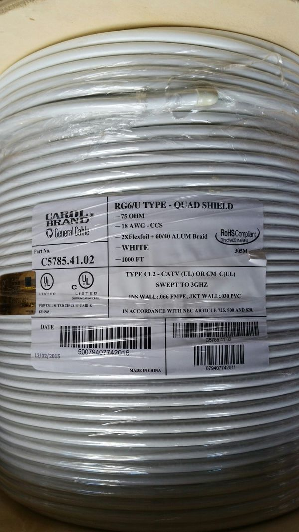 Cable wire 1000 feet roll rg 6