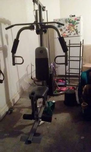 Golds gym workout station 300 pounds of weights brand new for Sale in Phoenix, AZ