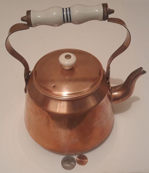 """Vintage Metal Copper and Brass Tea Pot, Tea Kettle, 9"""" x 8"""", Kitchen Decor, Shelf Display, This Can Be Shined Up Even More"""