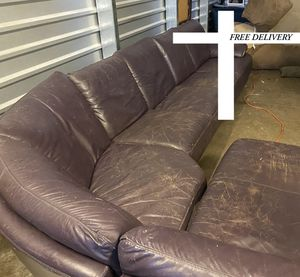 Huge wraparound purple leather sectional (free delivery for Sale in Sherwood, OR