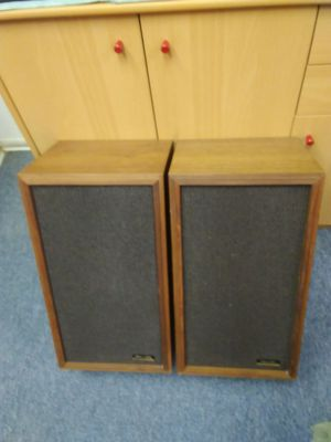 Classic audio speaker pair. 2 oiled walnut enclosures each with 8 inch woofer and 4 inch tweeter. Case size 20x11x9.5 Excellent working condition. for Sale in Saxonburg, PA