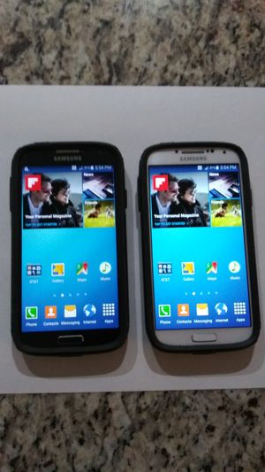 Pair of Samsung S4 phones 16meg ea for Sale in Grand Prairie, TX