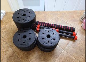 44 lbs total weight with dumbbell handles barbell weight plates exercise fitness equipment for Sale in Brooklyn, NY