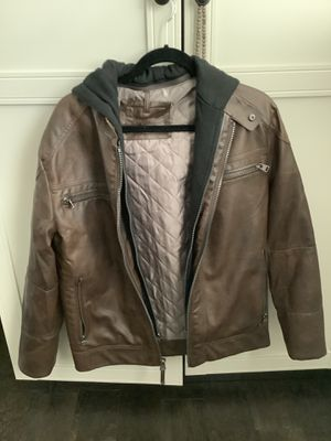 Brown leather hoodie jacket calvin klein S for Sale in Fullerton, CA