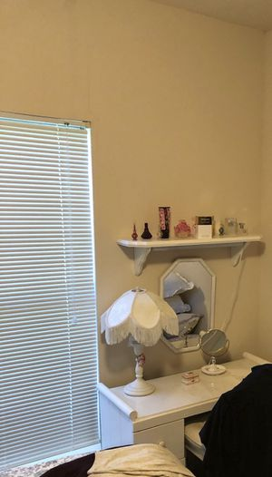 ANTIQUE VANITY WITH MIRROR, MATCHING SHELF AND ANTIQUE LAMP for Sale in Pflugerville, TX