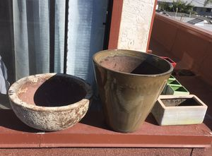 Various ceramic and stone planters house plant holders for Sale in San Diego, CA