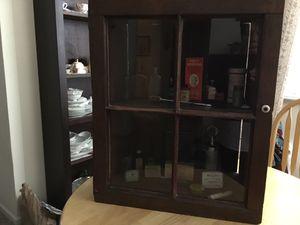 Antique Barnwood Cabinet including old Empty Medicine Bottles And Tins for Sale in Henderson, NV