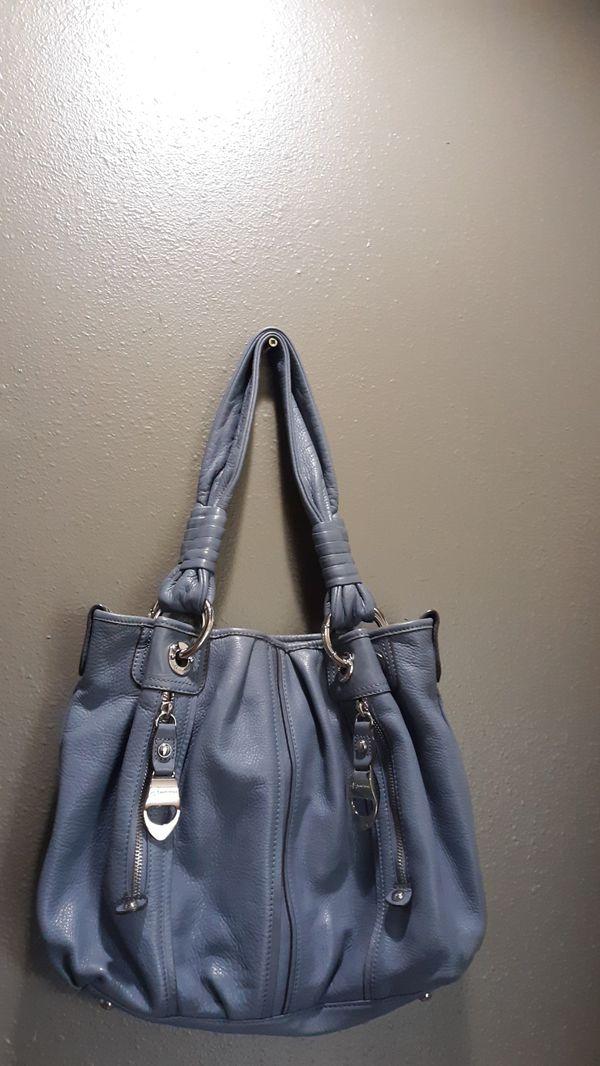 B. Makowsky Slate Blue Hobo Leather Shoulder Bag Purse
