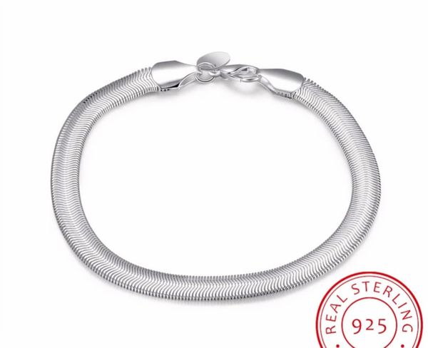 925 Sterling Silver 6MM Soft Snake Bone Chain Necklace/Bracelet Set