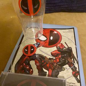Deadpool bundle: Spider-Man/Deadpool comic, Deadpool button, Deadpool Movie Soundtrack CD, Cup for Sale in Austin, TX
