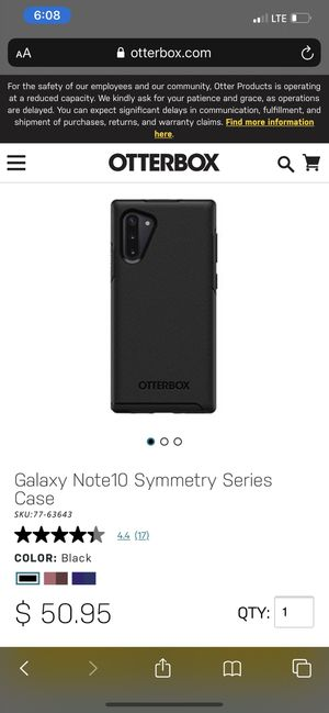 Samsung Galaxy Note 10 Otter Box for Sale in Tampa, FL
