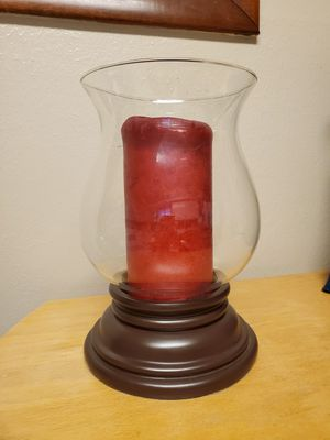 Large hurricane candle holder w/candle for Sale in Oklahoma City, OK