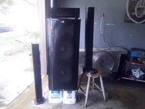 Onkyo receiver plus two 15-inch subwoofers Tower speakers for Sale in Selma, CA