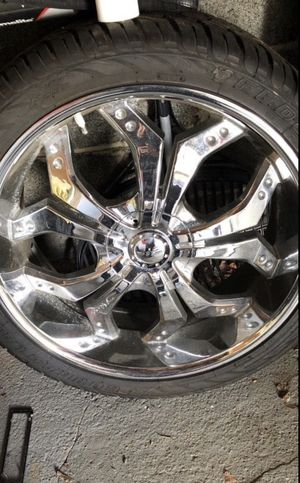 24'rims 6 lugs Universal new tires , never been cracked for Sale in Wallington, NJ