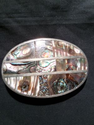 Abalone inlaid sterling silver belt buckle Mexico for Sale in Rocky River, OH