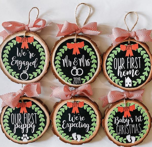 Personalized christmas ornaments / wood slice