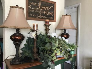 Home decor artificial plants lamps orchids and Floor candle holders lantern wall decorum for Sale in Whittier, CA