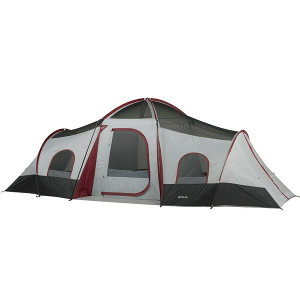 10-Person Cabin Tent with 3-Room and 2 Side Entrances For Outdoor Camping