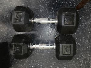 (2 )25 pound dumbbells weights workout for Sale in Lake Worth, FL