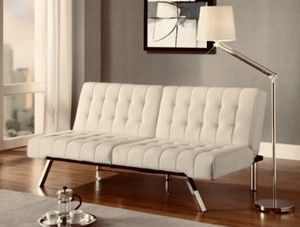 Futon Sofa Bed Cream Cozy & Chic for Sale in San Ramon, CA