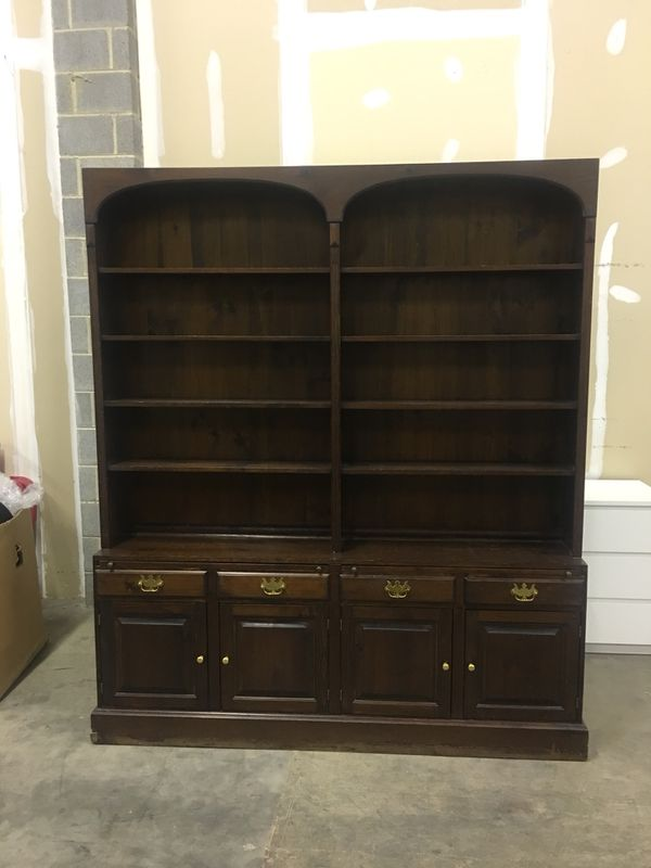 Beautiful brown wooden cabinet with hutch