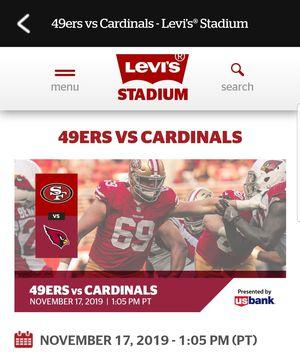 San Francisco 49ers vs Arizona Cardinals for Sale in Stockton, CA