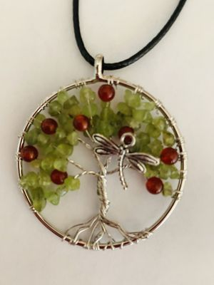 Dragonfly jewelry necklace silver tree of life handcrafted coral olivine for Sale in Worcester, MA