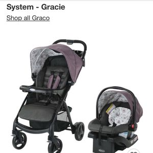 Gorgeous Graco Stroller System With Detachable Infant Seat!! Lovely Grey And Lavender Floral for Sale in Tampa, FL