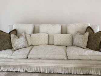 Long Couch With Embroidery And Pillows for Sale in Windermere,  FL