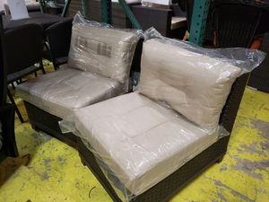New 2pc set outdoor patio furniture sunbrella fabric armless chairs for Sale in Hayward, CA