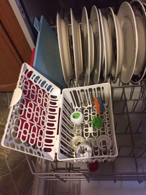 Baby items, food freezer, baby bottle dishwasher basket and formula carrier container for 3 bottles. for Sale in Everett, MA