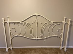 Vintage king size white enameled iron bed with rails for sale for Sale in Tulsa, OK