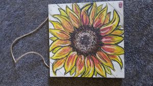 Hand drawn Sunflower -oil pastel on wood for Sale in Palmer, MA