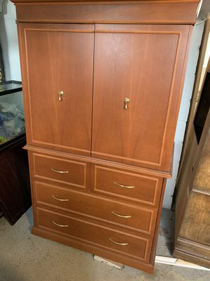 """Armoire. Three row of drawers and top opens for tv or other storage. 62"""" tall x 44"""" wide x 26"""" deep for Sale in Carnegie, PA"""