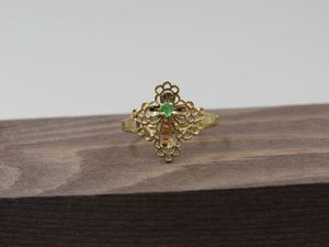 Size 5.75 10K Yellow Gold Emerald Cross Band Ring Vintage Estate Wedding Engagement Anniversary Gift Idea Beautiful Elegant Unique Cute for Sale in Lynnwood, WA